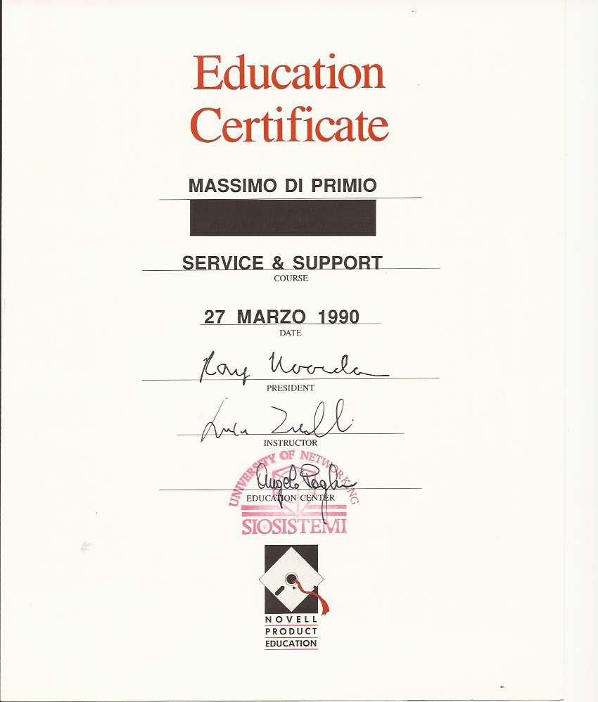 Novell 1990 Service Support