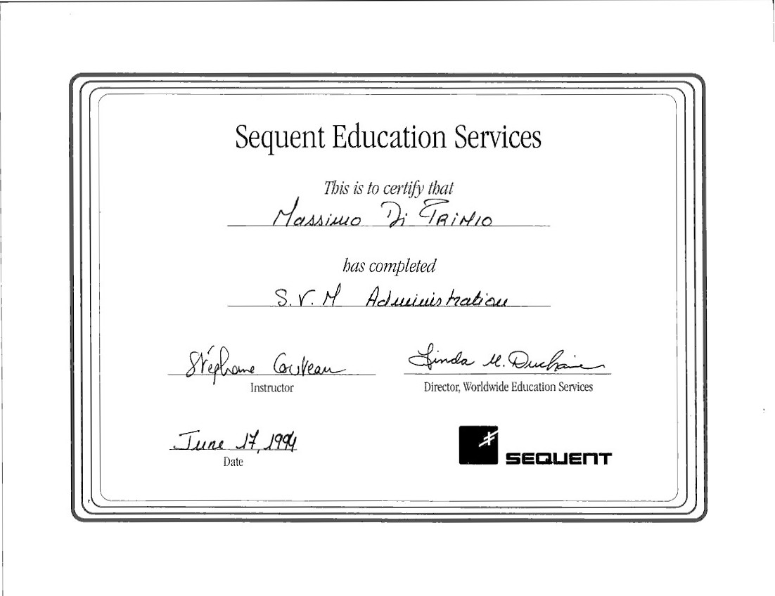 Sequent 1994 S.V.M Administration