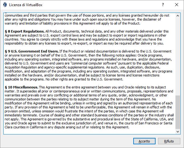VirtualBox. Licenza
