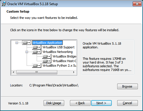 VirtualBox. Opzioni di installazione