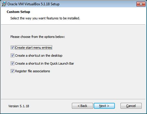 VitualBox. Setup installazione