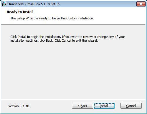VirtualBox. Avvio installazione