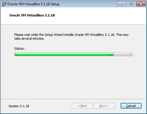 VirtualBox. Progresso installazione