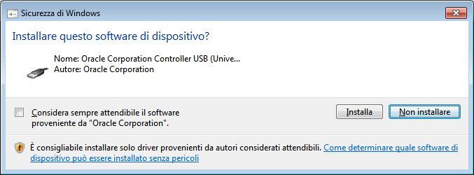 VirtualBox. Nuovo dispositivo Windows