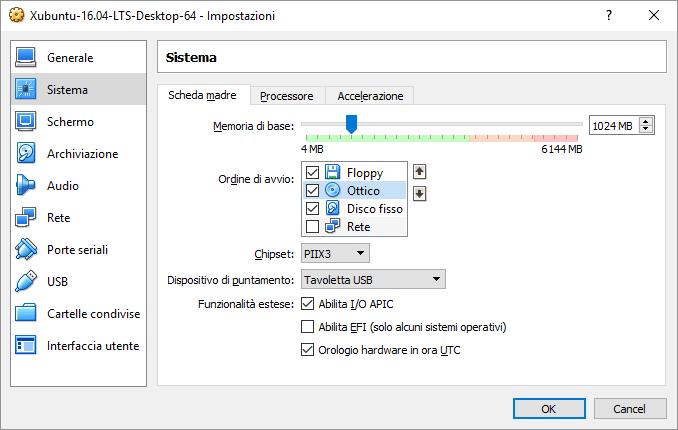 Impostazioni di Sistema della VM