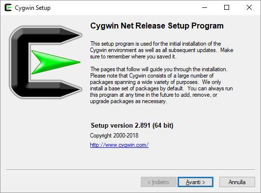 Cygwin avvio installazione