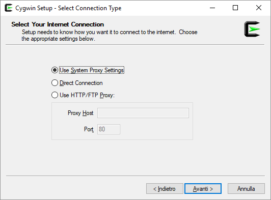 CW Setup connessione di rete
