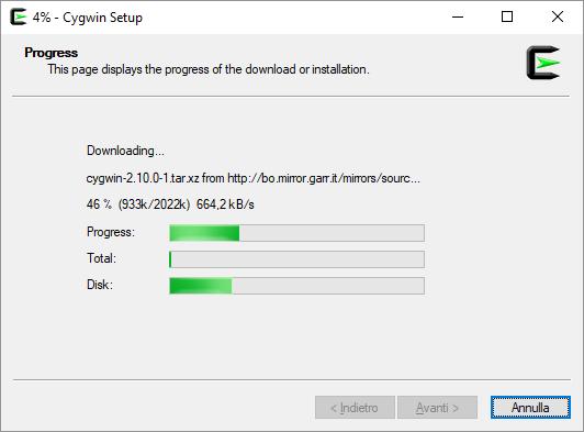 CW Setup progresso installazione pacchetti