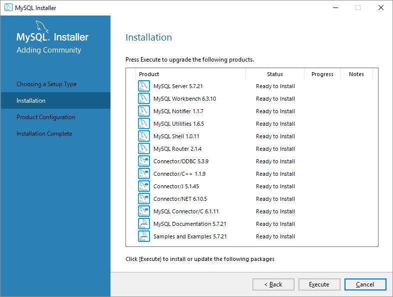 mysql on windows componenti mysl