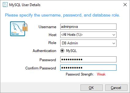 mysql on windows configurazione account
