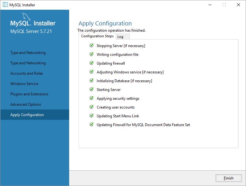 mysql on windows configurazione applica ok