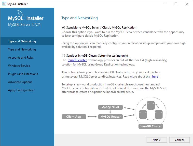 mysql on windows configurazione standalone