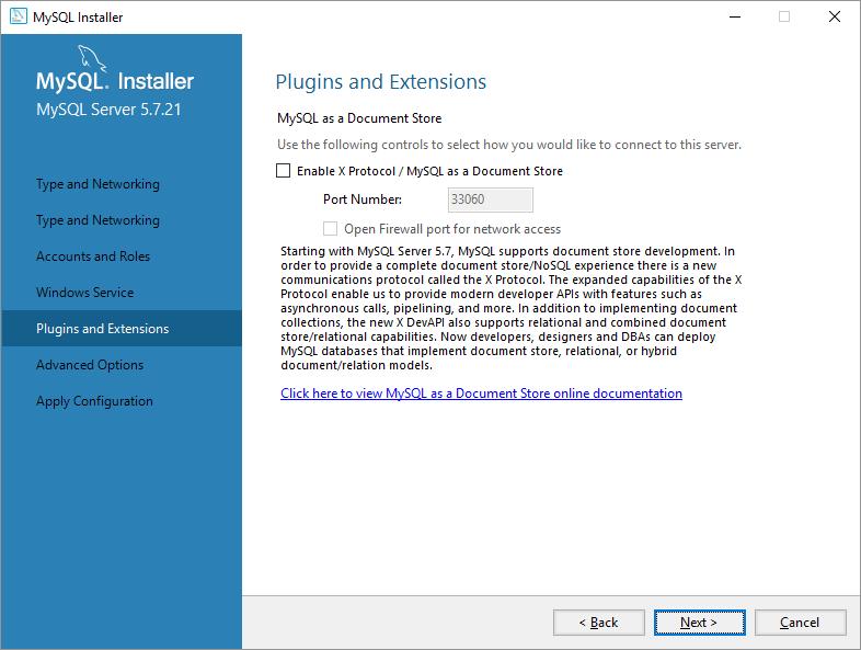 mysql on windows configurazione plugin