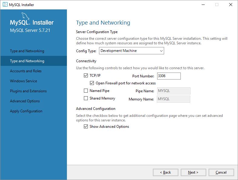 mysql on windows configurazione rete