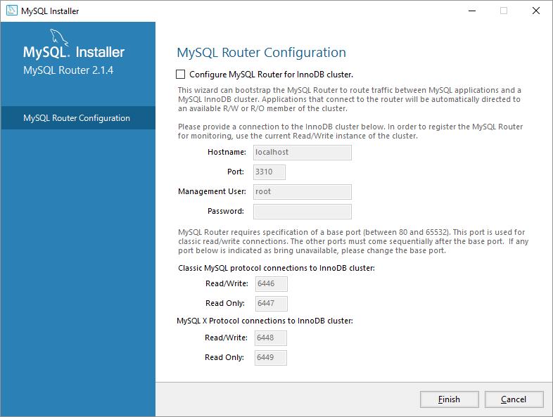 mysql on windows configurazione router