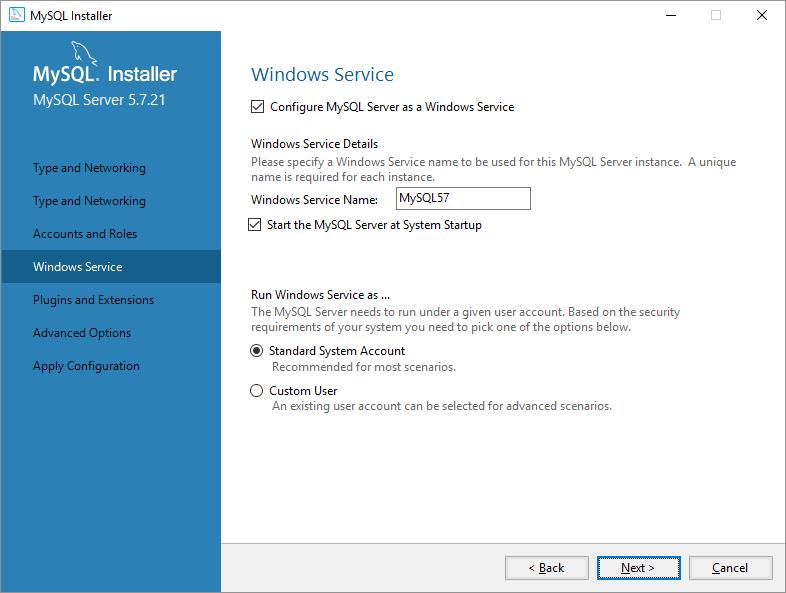 mysql on windows configurazione servizi windows