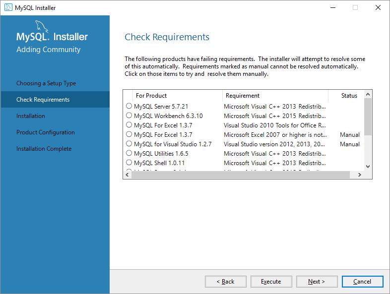 mysql on windows requirements