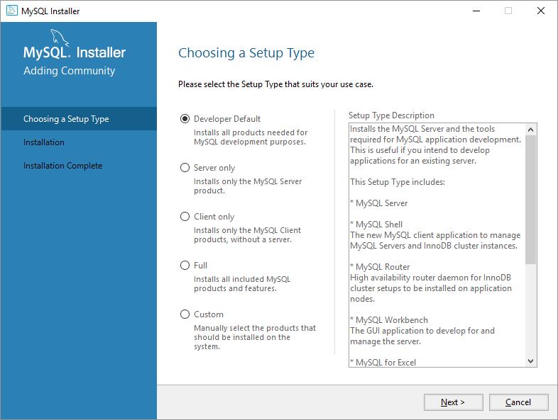 mysql on windows tipo di installazione