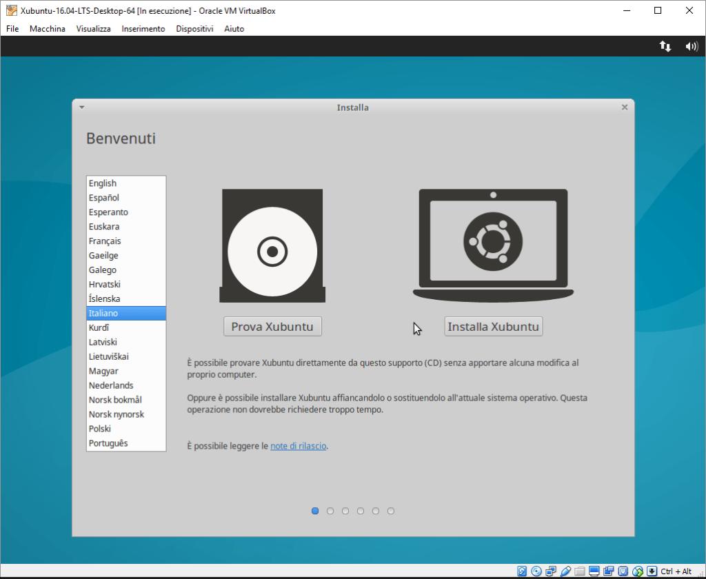 Installazione Xubuntu passo 1